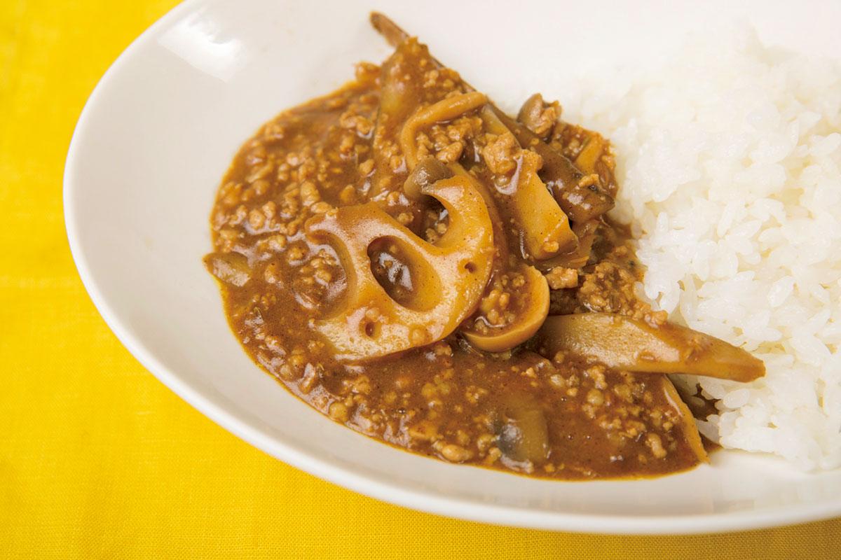 根菜と挽き肉のカレー