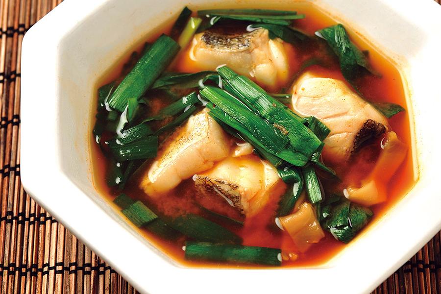 鱈とニラのピリ醤スープ