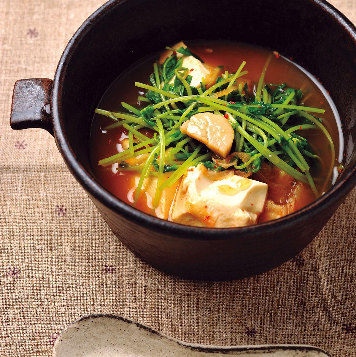 ホタテとキムチのスンドゥブスープ
