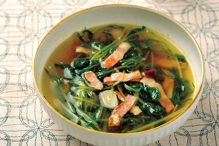 水菜とベーコンのペペロンスープ