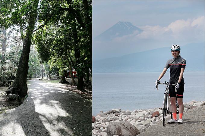 大瀬崎を自転車を押して歩く。海の向こうには富士山